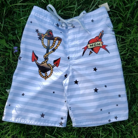 706e582157 Kids Ink Swim | Nwt Boys Trunksboard Shorts Anchor Tattoo | Poshmark